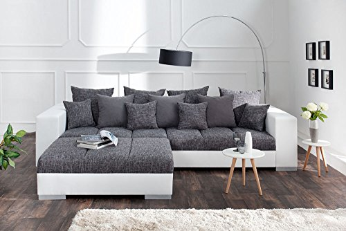 Design XXL Sofa BIG SOFA ISLAND in weiß grau charcoal Strukturstoff inkl. Kissen - 5