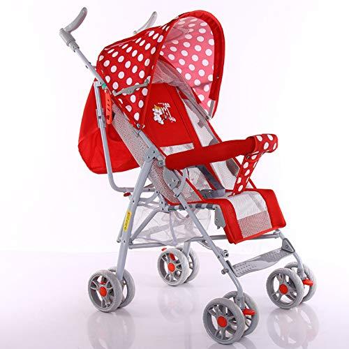 AZW Sonnenschutz-Kinderwagen-Tragetasche und Kinderwagen, Leichter Klappbuggy bis 15 kg mit Liegeposition, Sonnenschutz-Vierrad-Kinderwagen,Red