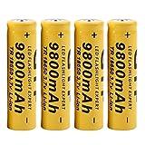 Vovotrade 4 ST oplaadbare accu 's batterij, Geel 18650 9800 mAh 3.7 V Li-Ion voor LED zaklamp (Schwarz, 65mm (Länge) x 17mm (Durchmesser))