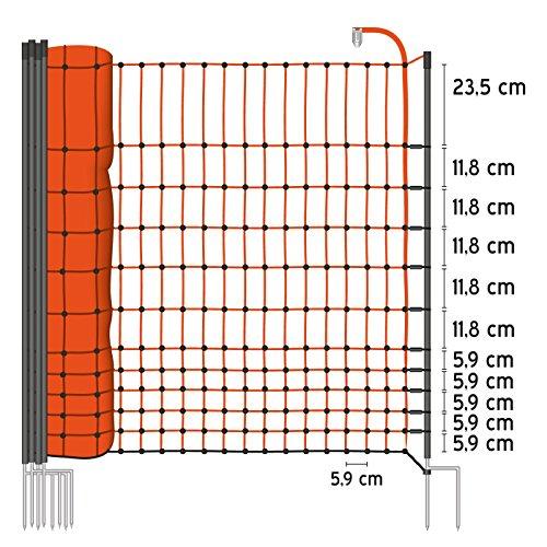 50 m Premium Hühnerzaun, Geflügelzaun/-netz, Kleintiernetz, 112 cm, 20 Pfähle, 2 Spitzen von VOSS.farming farmNet - 2