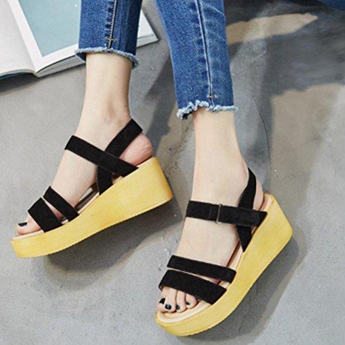 Scarpe allentate scarpe spesse scarpe romane cuoio tacchi alti sandali scarpe a cuneo scarpe retrò Black