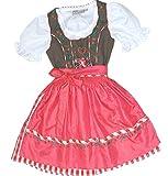 Schnuckeliges Kinderdirndl PETRA schoko + karo, 3-tlg. Komplett-Set, Farben:schoko/orange/rot;Größen:110