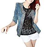 Jeansjacke Damen Elegant Langarm Slim Fit Vintage Glitzer Strass Fashion Unique Casual Herbst Kurz Jacken Denim Jacket Classic Outwear Kurzjacke