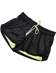 Moresave Dames 2-en-1 Shorts de sport Mesh Shorts Yoga Gym Shorts de course Respirant