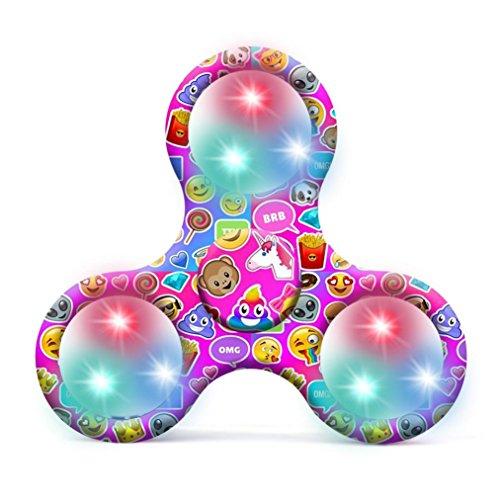 Preisvergleich Produktbild Saingace Emoji LED Licht Fidget Hand Finger Spinner EDC Focus Stress Reliever Spielzeug