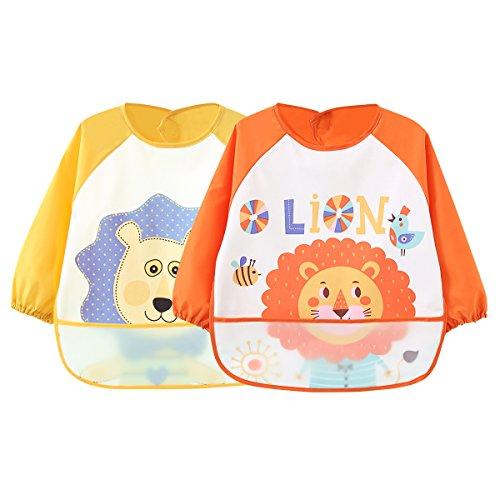 2 Pack Wasserdicht Ärmellätzchen abwaschbar latz mit ärmel lätzchen mit auffangschale Ärmellätzchen mit Nässeschutz - Essen und Play Smock Schürze für Kleinkinder für 6-36 Monate Kinder