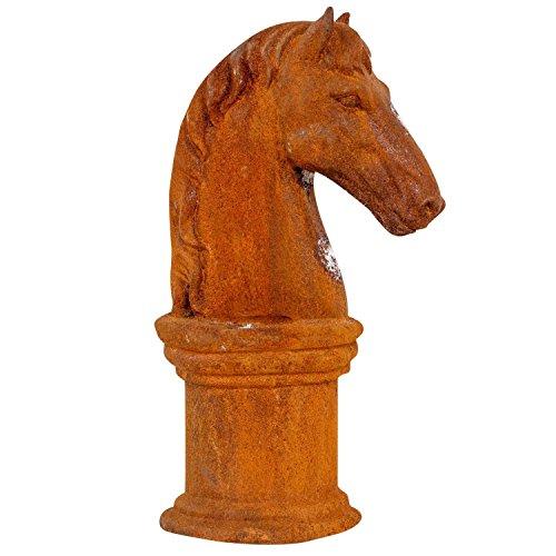 Pferdekopf Sockel Skulptur Eisen Figur Pferd Garten Schachfigur Horse iron rost Stylizowane i nowe