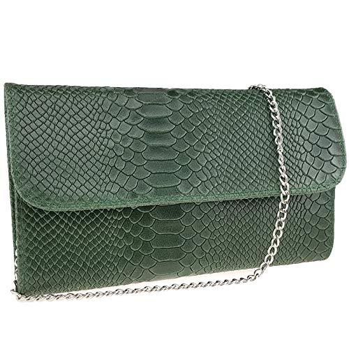 Freyday Echtleder Damen Clutch Tasche Abendtasche Muster Metallic 25x15cm (Dunkelgrün Snake) -