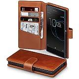 Xperia XA1 Case, Terrapin [ECHT LEDER] Brieftasche Case Hülle mit Standfunktion Kartenfächer und Bargeld für Sony Xperia XA1 Hülle Cognac