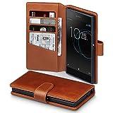Terrapin, Kompatibel mit Sony Xperia XA1 Hülle, [ECHT LEDER] Brieftasche Case Tasche mit Standfunktion Kartenfächer und Bargeld - Cognac