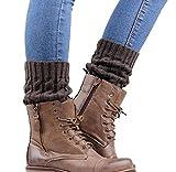 Calcetines de Piernas Tejidos, Holacha Botas Botines Calentadores de Punto Invierno para Mujeres Colores Dobles (gris)