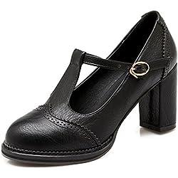 YE Damen Blockabsatz T-strap Runde Zehe Geschlossen Retro 6cm Heels Mary Jane Riemchen Leder Pumps (37EU, Schwarz)