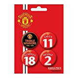 MANCHESTER UNITED - TREBLE WINNERS - BADGE PACK - PACK OF 4 X 38MM BADGES - BRAND NEW
