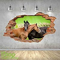HORSE WALL STICKER 3D LOOK - BEDROOM LOUNGE NATURE ANIMAL WALL DECAL Z503