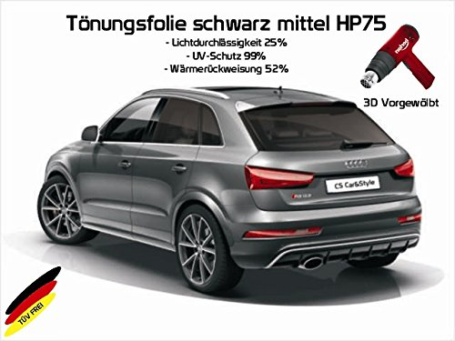 Preisvergleich Produktbild 3 D Tönungsfolie passgenau vorgewölbt BMW 1er F20 5-Türer Bj. ab 09/11- (mittelschwarz HP 75 Lichtdurchlässigkeit 25% Wärmerückweisung 52%)