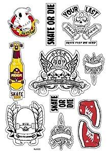 Planche A4 de stickers skate autocollant adhésif scrapbooking - A93