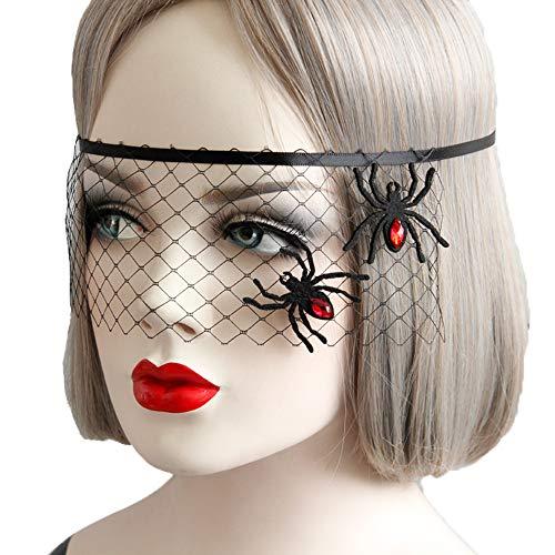 Augen Maske Damen Schleier Mit Spinne Decken Halbes Gesicht Für Halloween, Cosplay Party Maske, Maskerade Zubehör, Einheitsgröße (Für Maskerade-maske Verkauf)
