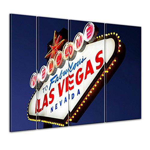 Keilrahmenbild - Las Vegas - Bild auf Leinwand - 180 x 120 cm 4tlg - Leinwandbilder - Bilder als Leinwanddruck - Städte & Kulturen - Amerika - beleuchtetes Welcome Schild
