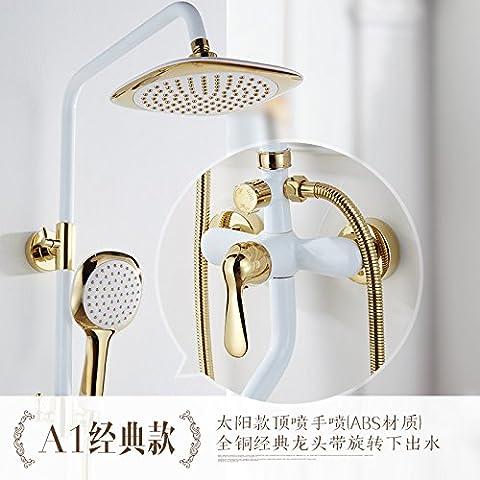 ODJG Di stile europeo e doccia suite Cu tutto bianco e oro a caldo e a freddo di antiquariato di sollevamento doccia rubinetti miscelati ,A1 valvola acqua