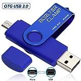 BorlterClamp 64GB Chiavetta USB 3.0, 2 in 1 Pen Drive (Micro USB e USB 3.0) OTG Memoria Flash, USB Flash Drive Girevole per Android Smartphone/Tablet/Computer (Blu)