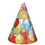Unique Party 23611 - Cappelli per Festa Palloncini di Compleanno, Confezione da 8