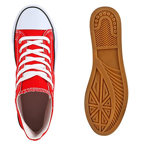 Bequeme Canvas Sneakers | High-Cut Modell | Basic Freizeit Schuhe | Viele Farben und Muster | Gr. 36-42 Rot
