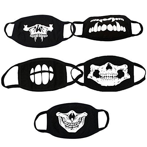 Mundschutz Maske Schwarz aus Baumwolle Leuchtend Schädel Design Unisex Anti Staub Wind Gesicht Maske, 5pcs (Für Designs Halloween-maske Kinder)