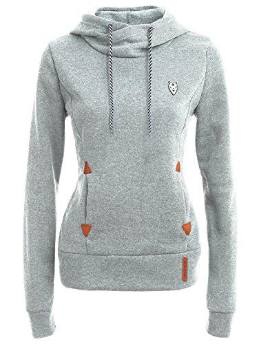 FANTIGO Femme Mode Hooded Sports Automne Tops à Manches Longues Hiver Sweats à Capuche Pull Hoodie Sweat-shirt Gris