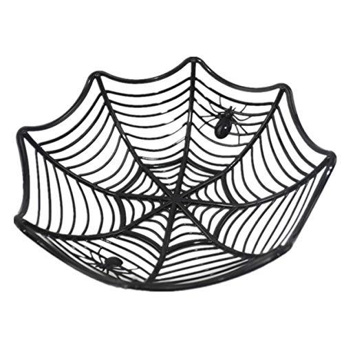 ngshanquzhuyu Kreative Spinnennetz-Schale aus Kunststoff für Süßigkeiten, Halloween, Party-Dekoration, Dekoration - Schwarz