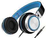 Sound Intone MS200 2016 Neue Stereo-faltbarer Kopfhörer, kleine Headset mit gringes Gewicht, 3,5mm kompatibel mit Smartphones/Laptops/samsung/iPod/Android/HTC/MP3/4 (Schwaz/Blau)