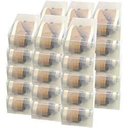 30x DynaSun PP435 Cajas de Almacenaje Para Zapatos Apilable Plegable Contenedor Organizador Transparente para Hombres Damas y Señoras