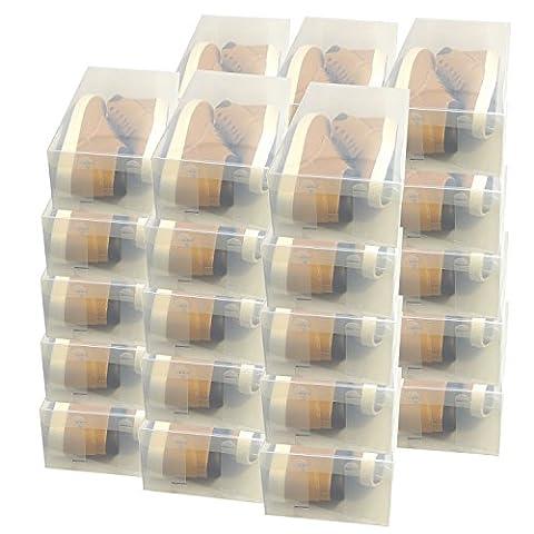 30x DynaSun PP435 Boîte à Chaussure de Rangement Escarpin Conteneur Organisateur Robuste Transparente Empilable et Pliable pour Hommes et Dames