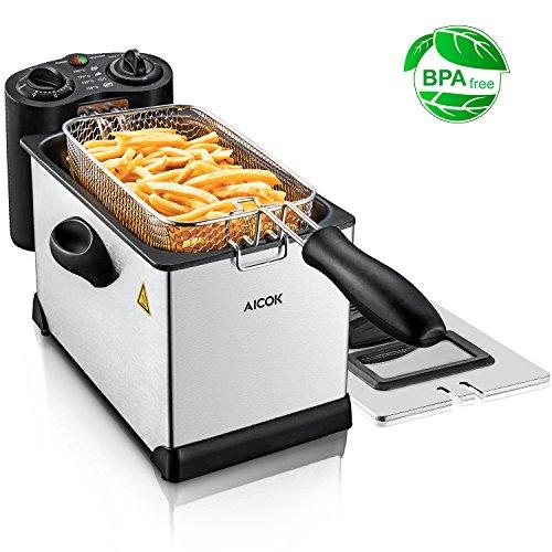 Aicok friggitrice, friggitrice ad olio 2000w friggitrice ad immersione da 3l, con pannello di controllo temperatura e timer regolabile, acciaio inossidabile per pollo, gamberetti, patatine fritte