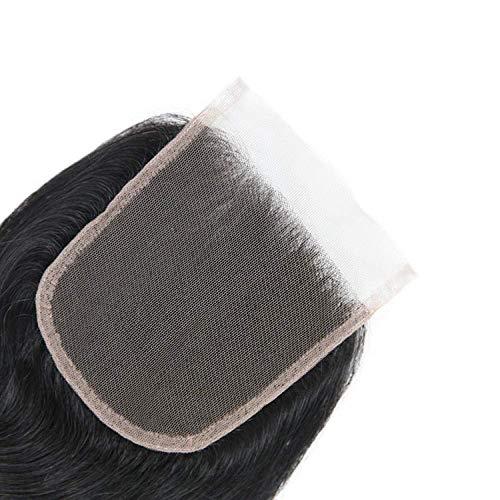Brasilianische Kostüm Zum Verkauf - GFF 4 4 10a Lace-Closure Body Wave Echthaar-Perücke, gewellt, mit Babyhaar, 46 cm, 3 Teile, 44 cm, natürliche Farbe 12inch 4 Closure Natural