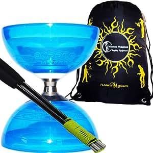 Diabolo Set Cyclone Quartz (Blau) Freiläufer (mit kugellager) Dreifache Lagerung Kombi-Set mit Diablo CARBON-Handstäbe und Diaboloschnur +Reisetasche! Jongliergeräte / Diabolo für Profis.