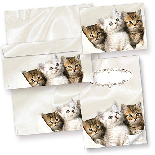TATMOTIVE 42-0025 Katzen Set / 25 Briefpapiere / 25 Umschläge / 3 x 4 Postkarten / 1 Schreibblock