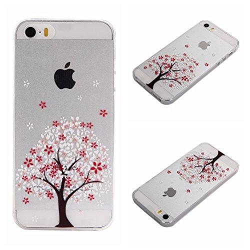 Apple iPhone 5 5G 5S SE Coque, Voguecase TPU avec Absorption de Choc, Etui Silicone Souple Transparent, Légère / Ajustement Parfait Coque Shell Housse Cover pour Apple iPhone 5 5G 5S SE (fleur colorée fleurs de cerisier-A