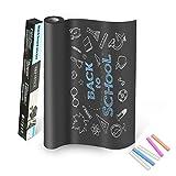 OKE Lámina de Pizarra Flexible Adhesivo Removible para Escribir y Borrar (incluye 5 tizas),45 x 200 cm, Color Negro