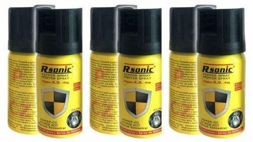 3 Stück Rsonic Pfefferspray K.O. 40ml Abwehrspray