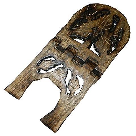 Porte-livre 45cm pliable en bois de manguier feuille de vigne Artisanat indien