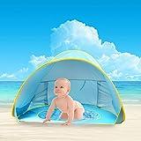 Tienda de Playa para Bebés,Oummit Pop-up Tienda de bebé con Pequeña Piscina Automática plegable Tienda Portátil Protección Solar Anti UV 50+ Muy Adecuado para Vacaciones en la Playa.(Blue)