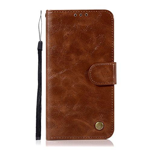 Chreey HTC U11 Hülle, Premium Handyhülle Tasche Leder Flip Case Brieftasche Etui Schutzhülle Ledertasche, Braun