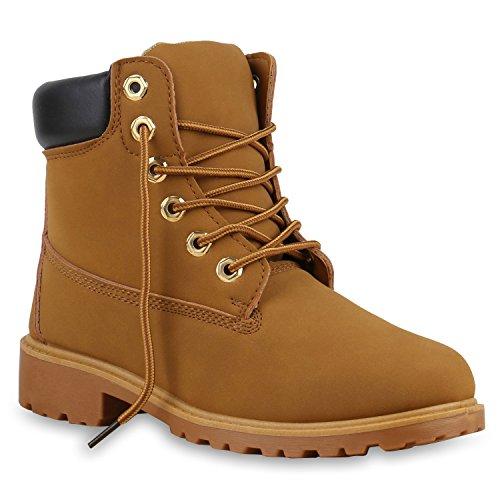 UNISEX Damen Herren Worker Boots Profil Sohle Stiefeletten Outdoor Schuhe Hellbraun Dunkelbraun