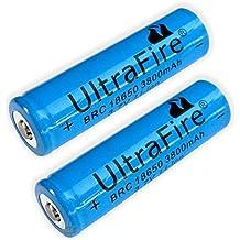 Ultrafire - 2 batterie ricaricabili BRC 18650 3800mAh 3,7 V Li-ion per lampade torcia (CREE LED FA-0515)