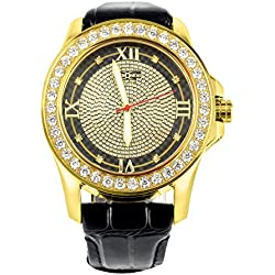 Schwarz Zifferblatt Gold Finish Echter Diamant Khronos Joe Rodeo 1 Zeile 54 mm Herren-Armbanduhr
