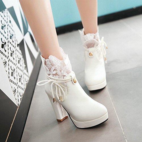 Mee Shoes Damen mit Lace chunky heels Plateau Reißverschluss Ankle Boots Weiß