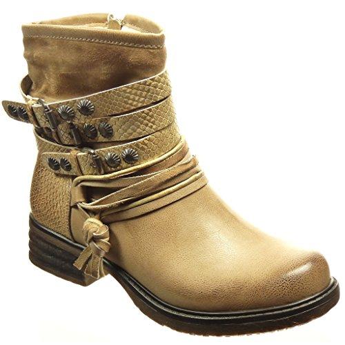 Angkorly - damen Schuhe Stiefeletten - Reitstiefel - Kavalier - Biker - Schlangenhaut - String Tanga - Nieten - besetzt Blockabsatz 4 CM Beige