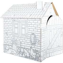 10015 Costruzione da gioco Casetta in cartoncino small foot, in cartone, può esere dipinta e colora