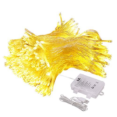 LE Cortina Luces LED USB o PILAS, 3m*3m 300 LED, Mando incluido (8 modos, Intensidad Regulable, Temporizador), Resistente al agua, Blanco cálido