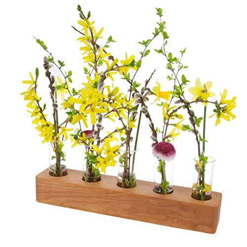 Blumenvase mit Reagenzglas aus Holz | Design Vase Glas Blume Blumen Ständer Massivholz | klein modern als Tischdeko Deko Dekoration Geschenk Gestell Natur Tischvase (Kirsche - 30cm - 5er) (Glas Reagenzgläser Loch)